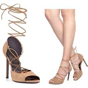 Saint Laurent Jane 80 Chamois lace up heel sandals